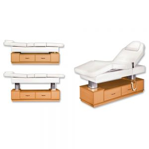 3 Motor Electric Facial / Massage Bed With Sliding Wooden Drawers